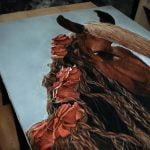 Tableau cheval avec roses